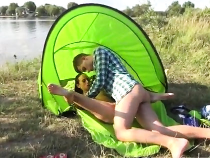 Brunette double blowjob Eveline getting boned on camping