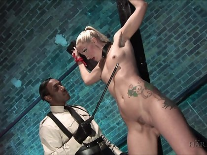 Submissive blonde accepts everything from her master