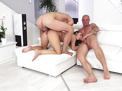 Magnificent threesome at home for the naked step daughter