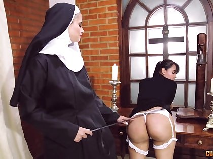 Crazy nun lesbian fetish with two amazing women