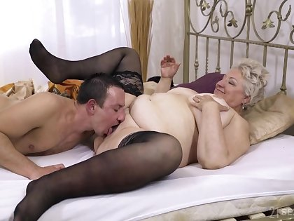 Chubby granny lets the nephew to fuck her hard