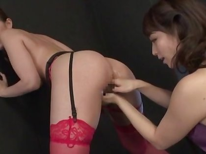 Japanese lesbian passion with two slutty dolls