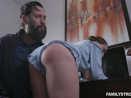 Behaving naughtily pigtailed girl Lily Glee gets fucked doggy as punishment