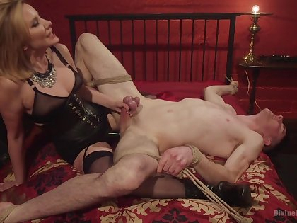 Maitresse Madeline Marlowe tortures and milks her male slave