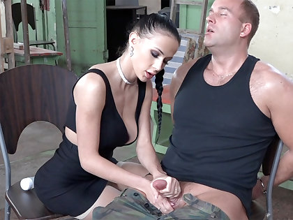 Sexy brunette play with dick be incumbent on military