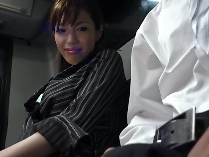 Japanese lady is sucking a rock hard meat outsert the train with the addition of getting fucked hard