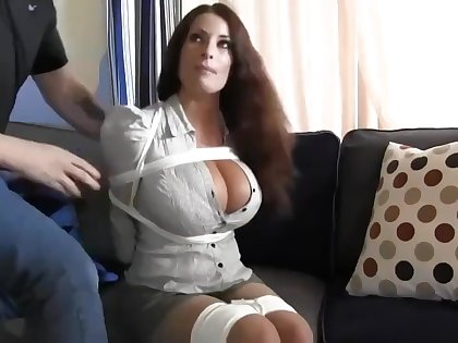 Buxomy housewife gets immensely crazy in a beeline she gets corded up and left on the floor