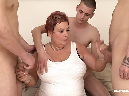 Pudginess elderly woman pays for gangbang with three young guys